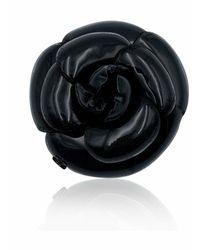 Chanel Vintage Broche de flor de camelia Negro