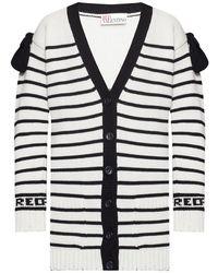 RED Valentino Long striped cardigan - Blanc