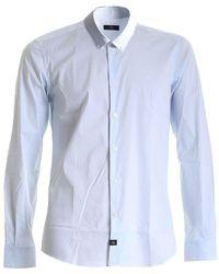Fay Striped Button-Down Shirt - Blu