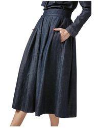 Department 5 Linen Pleated Denim Skirt - Bleu
