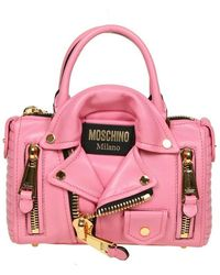 Moschino Handbag in leather - Rosa