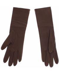Dolce & Gabbana Leather Wrist Slim Gloves - Bruin