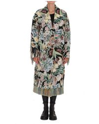 Golden Goose Single-breasted Journey Collection Bertina jacquard coat with flower collage and fringes Verde