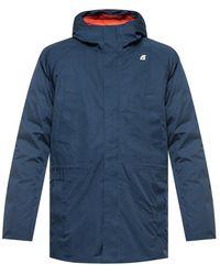 K-Way Down Jacket With Logo - Blauw