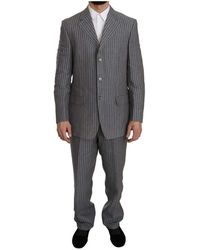 Ermenegildo Zegna Striped 2 Piece 3 Button Suit - Grijs