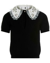 Elisabetta Franchi Jewel Collar Sweater - Zwart