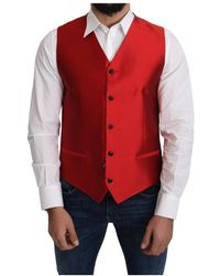 Dolce & Gabbana Silk Formal Vest - Rot