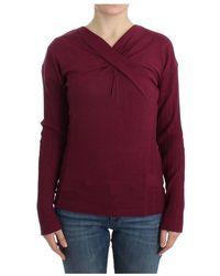 Roberto Cavalli Knitted Wool Sweater - Paars