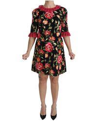 Dolce & Gabbana Floral Stretch Jurk - Zwart