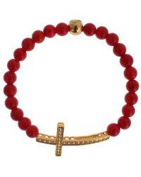 Nialaya Coral Cross Bracelet - Rood