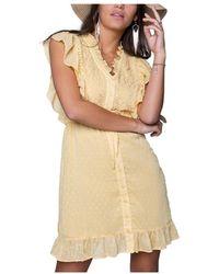 Colourful Rebel Celine Mini Dress Embroidery - Geel