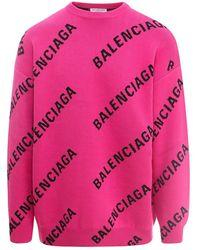 Balenciaga Logo Jacquard Sweater - Roze