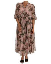 Dolce & Gabbana Bengal Cat Shift Wrap Gown - Roze