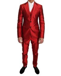 Dolce & Gabbana Slim Fit 3 Piece Two Button Suit - Rood