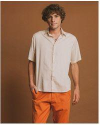 Thinking Mu Short sleeve shirt - Tom Sand Beige - Neutro