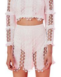 For Love & Lemons Morrison Micro Mini Skirt - Blanc