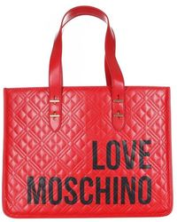 Love Moschino Shoulder Shopper With Front Logo - Rood