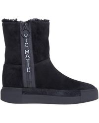 Vic Matié Sneaker In Camoscio Con Zip E Logo - Zwart