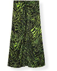 Ganni Silk Stretch Satijn Rok - Groen