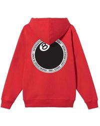 Stussy 8 Ball DOT Hood Sweatshirt Rojo