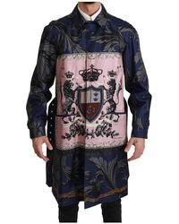 Dolce & Gabbana Chaqueta tipo gabardina Royal Crown Azul