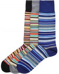 Paul Smith Three Pack Of Signature Striped Socks - Naturel