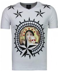 Local Fanatic Holy Mary - Rhinestone T-shirt - Wit