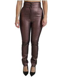 Dolce & Gabbana - Metallic Hoge Taille Skinny Katoenen Broek - Lyst