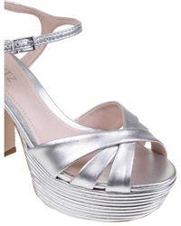 Schutz Laminated leather sandals Gris