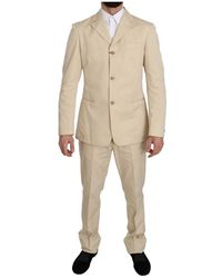 Romeo Gigli Two Piece 3 Button Solid Suit - Naturel