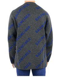 Balenciaga Cuello redondo con logo diagonal Gris
