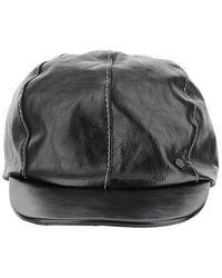 Maison Michel Leather Cap - Zwart