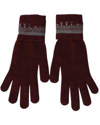 John Galliano Maroon Elastic Wrist Length Mitten Designer Logo Gloves - Bruin