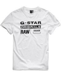 G-Star RAW T-shirt Met Zwarte Opdruk (d14143 - 336 - 110) - Wit