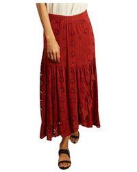 La Petite Francaise Juponnée english embroidery long skirt - Rosso