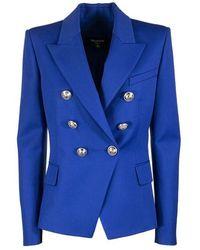 Balmain Double Breasted Blazer - Blauw