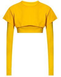 Jacquemus Le Double T-shirt Crop Top - Geel
