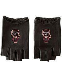Karl Lagerfeld Fingerless Gloves Ikonik Biarritz - Zwart