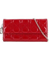 Dior Pre-owned Wallet on chain Lady Dior - Rosso