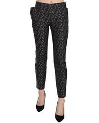 Just Cavalli Patterned Low Waist Skinny Trousers - Zwart