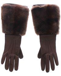 Dolce & Gabbana Rabbit Fur Lambskin Leather Gloves - Bruin