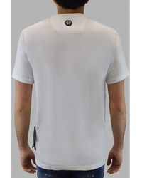 Philipp Plein - Camiseta de calavera con cuello redondo y corte platino Blanco - Lyst