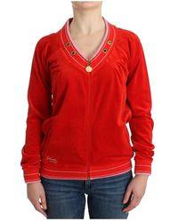 Roberto Cavalli Velvet zipup sweater - Rouge