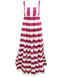 Dolce & Gabbana Tweedehands Ibiza Te Quiera Fuchsia Gestreepte Maxi-jurk - Roze