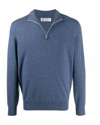 Brunello Cucinelli Cashmere high neck l/s sweater w/zip - Blu