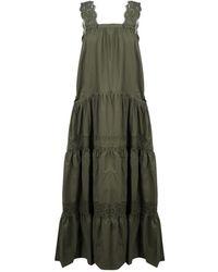 P.A.R.O.S.H. Apron Dress In Poplin - Groen