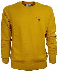 Aeronautica Militare Wool Scoop Neck Sweater Ma1287 - Gelb