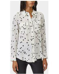Equipment Camicia Slim Signature seta stelle - Bianco