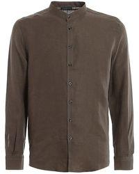 Paolo Fiorillo Capri Mandarin Collar Linen Shirt - Vert