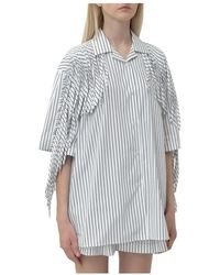 MSGM Shirt with Fringes - Weiß